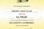 Jeepey Jamboree raised  £1700 for the YAA